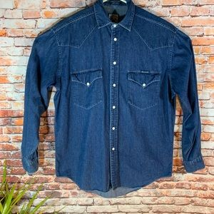Faconnable Long Sleeve Western Chambray Shirt
